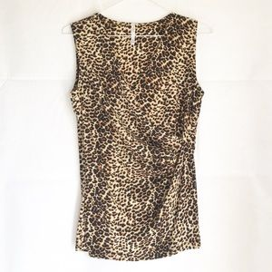 Cheetah Print v Neck Sleeveless  Top Medium